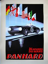 "Vintage French Car Racing Poster, Panhard, ""24 Heurvs De Mans"""