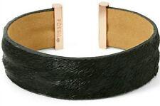 NEW FOSSIL BLACK CALF HAIR,ROSE GOLD TONE TIPS,FLEXIBLE OPEN BANGLE JA6272791