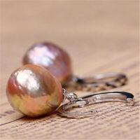 13-14mm Purper Baroque Pearl Silver Hook Earrings Noble Elegant flawless