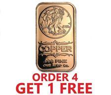 1 Ounce .999 Fine Copper Bar - Walking Liberty