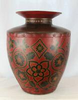"Huge Vintage Red and Black Tole Toleware Metal Vase - 17.5"" Tall"