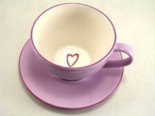 STARBUCKS 2008 PURPLE HEART TEA COFFEE CUP & SAUCER 12oz  Love Valentine