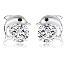 Dolphin Earrings 925 Sterling Silver Plated Ear Stud Studs Crystal Earring Gift