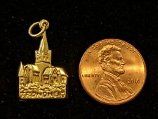 VINTAGE 14K YELLOW GOLD PENDANT CHARM NIDAROS CATHEDRAL CHURCH TRONDHEIM NORWAY