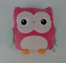 "Chickpea Owl Plush Stuffed Animal Soft Toy Lovey Pink Aqua Small 6"""
