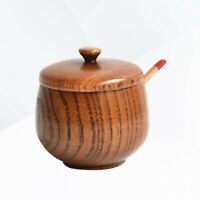 Jujube Wood Seasoning Jar with Lid Natural Salt Canister Kitchen Spice Storage