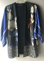 Zara Woman Floral Print Kimono Medium Silk Animal Print Art To Wear (Flawed)