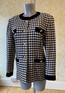 80s ESCADA black white MARGARETHA LEY check jacket 42 gold buttons shoulder pads