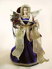 """Silvestri Angel 12.5"""" Tall Purple Velvet Gown Red Hooded Cape Tree Topper"""