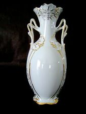 Vtg Czech Bohemian ROYAL DUX Hand Painted 11215 White Porcelain Bud Vase