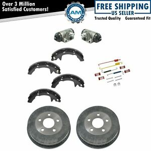 Rear Brake Drums Shoes Hardware & Wheel Cylinders Kit Set for Ford Mercury New