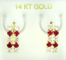 RUBY & WHITE SAPPHIRES DANGLING EARRINGS 14k Yellow Gold ** NEW WITH TAG