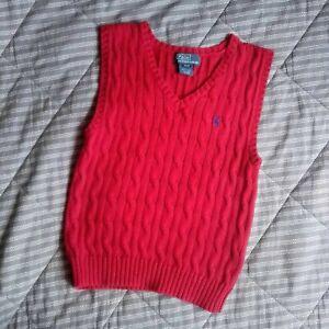 Polo Ralph Lauren Boys Red Knitted Vest Logo 4T 98cm