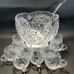 Vintage Crystal Punch Bowl Set Wheat & Star Design 12 Cups With Glass Ladel
