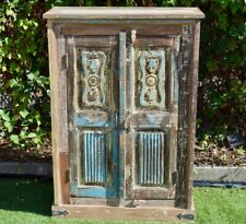 Shabby Chic Reclaimed Timber Country Storage Hand Carved Door Cabinet Wardrobe