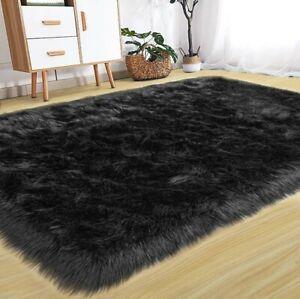 Faux Fur Rug - Black Premium Shag - Bear Skin Rug - 3'x5'