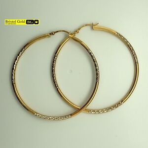 Fully Hallmarked Gold On 925 Silver Medium Patterned Hoop Earrings -FREE P&P