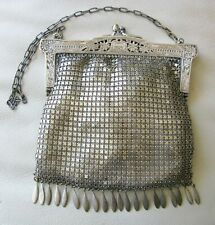 Antique Art Nouveau Silver Pierced Floral Frame 20 Flat Tassel Chain Mail Purse