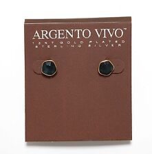 Argento Vivo Stud Earrings Dark Turquoise Gold Women 0297