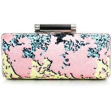 NEW Authentic DVF Diane von Furstenberg Pink Yellow Tonda Printed Sequin Clutch