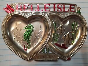 Vintage Belle Isle Aquarium Souvenir Trinket Tray HEARTS Detroit MI Rare