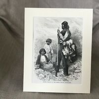1890 Native American Indian Maidu Tribe Digger Antique Print