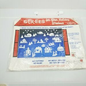 Stik-ees Vintage Holiday Plastic Window  Home Decor Decals Reusable