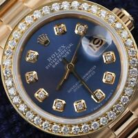 26mm Diamond Rolex 18K Yellow Gold Blue Dial Ladies Presidential Watch