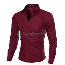 VSKA Men's Slim Fit Shirt Long Sleeve Formal Dress Shirts Casual Shirts Tops