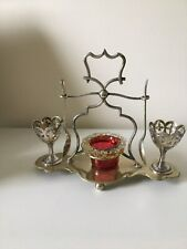 More details for  epns egg cup stand with a cranberry salt & original spoons and egg cup holders