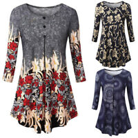 New Womens Casual 3/4 Sleeve T Shirt Ladies Loose Tunic Blouse Floral Shirt Tops