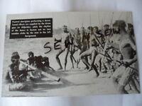 ANTIQUE VINTAGE OLD PHOTO POSTCARD PAINTED ABORIGINAL MEN in CORROBOREE DANCE