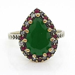 Deco 3.80ct Emerald, Ruby & Diamond Cut Sapphire 14K Yellow Gold 925 Ring Size 9