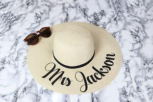 Personalised sun hat, Honeymoon sun hat, Bride beach hat, Straw hat, Beach wear