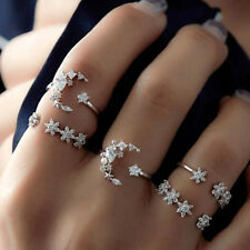 5Pcs/Set Silver Crystal Star Flower Stackable Sparkly Rings Vintage Boho Jewelry