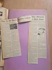 VINTAGE SCRAP BOOK WITH BOXING NEWSPAPER CUTTINGs Liston v Clay Lots of cuttings