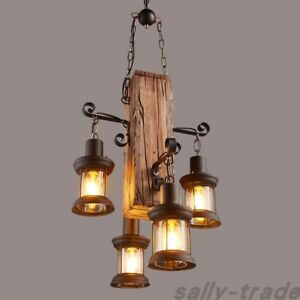 4 Heads Wood Chandelier Iron Ceiling Lamp Industrial Pendant Light Art Fixtures