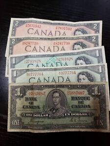 🇨🇦 Canada 1 and 2 dollars 1937, 1954 Currency Banknote Money (qty 5)