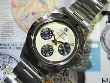 Alpha Daytona Paul Newman Glossy Bezel Chronograph Watch On Rivet Bracelet