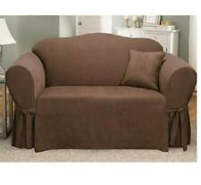 Sure Fit Soft Suede Sofa Slipcover Chocolate/Brown Box Style Seat Cushion
