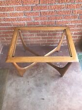 Vintage Lane Silhouette Designer Inspired Mid Century Walnut & Glass End Table
