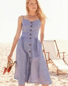 Joules Womens Abby Solid Button Through Strappy Dress - Blue - 10