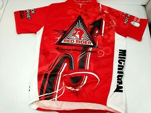 Primal Cycling Jersey Men Red Rider American Diabetes Assoc Lrg 3/4 Zip Michigan