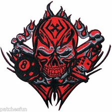 Skull Crossbones Flames Cross Dice 8 Eight Biker Chopper Rider Iron on Patch 760