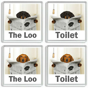 DACHSHUND (SAUSAGE DOG) READING A NEWSPAPER ON THE LOO Novelty Toilet Door Signs
