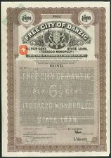 More details for free city of danzig, 6½% state loan (tobacco monopoly), £1000 bond, 1927