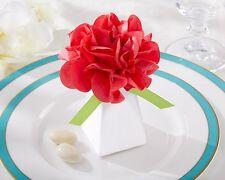 24 Pink Pom Pom Wedding Favor Boxes