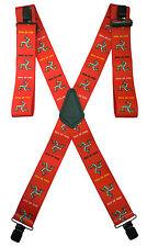 Mann3 Heavy Duty Isle of Man TT Motorbike / Motorcycle - Braces / Suspenders Red