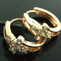 HUGGIE HOOP EARRINGS REAL 18K ROSE G/F GOLD DIAMOND SIMULATED VINTAGE DESIGN