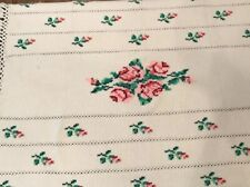 VIntage Crocheted Afghan Throw Blanket Cream Cross Stitched Roses 59x45